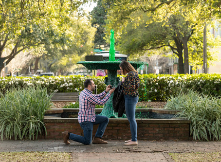 Rachel & Brandon Proposal - Columbia Square - Savannah, Georgia