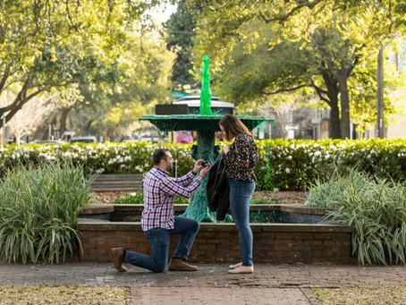 Rachel & Brandon Proposal - Columbia Square - Savannah, Georgia