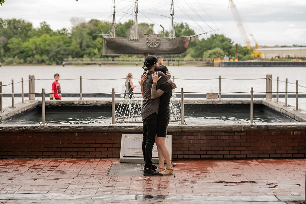 Josh proposes to Tanya on River Street in Savannah, Georgia.