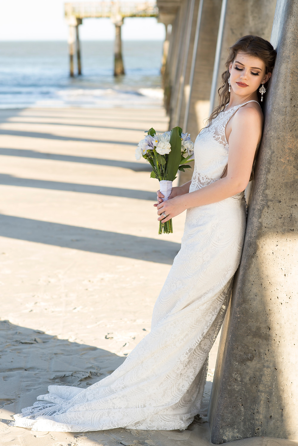 Bride in her wedding gown for her Savannah, Georgia - Tybee Island  Elopement