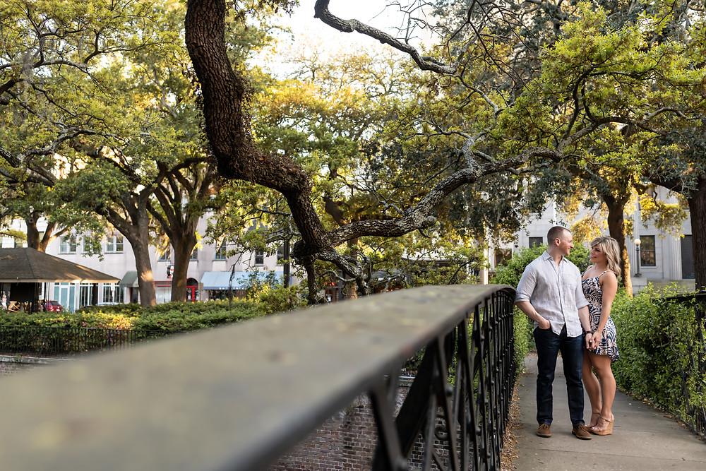 Ashley & Matt's engagement session on Factor's Walk and River Street in Savannah, Georgia.
