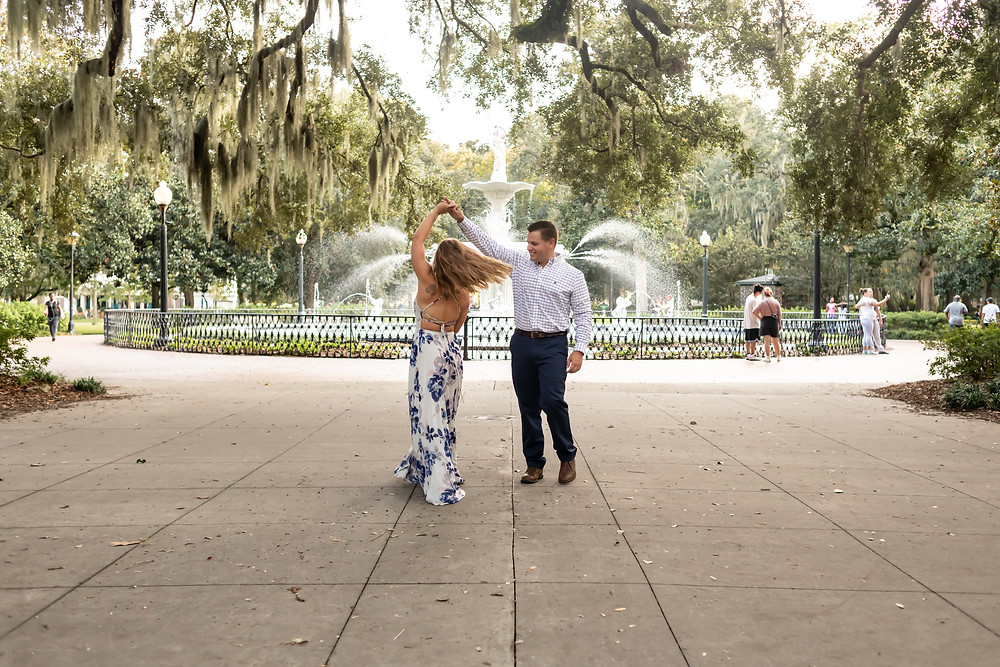 Kirby and Matthew's engagement photos at Forsyth Park in Savannah, Georgia.