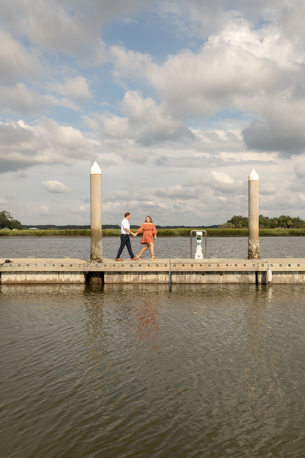 Ashley and Tyler's engagement session at Isle of Hope Marina in Savannah, Georgia.