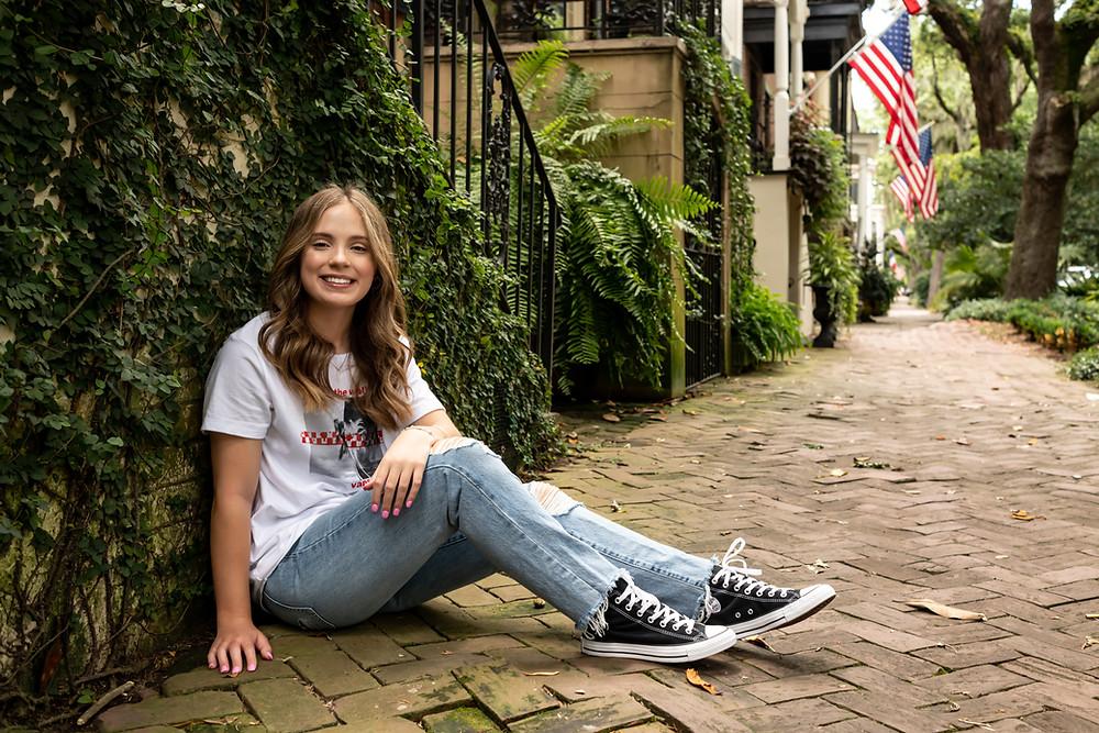 Ashley's senior portraits on Jones Street in Savannah, Georgia.