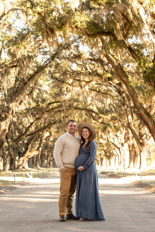 Melissa ad Grant's maternity session at Wormsloe in Savannah, Georgia.
