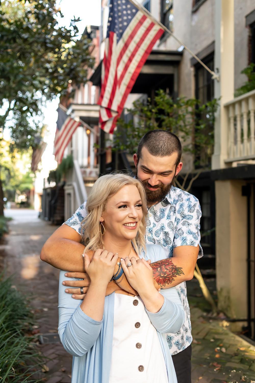 Jonni and Cody's couple photo shoot in downtown Savannah, Georgia.
