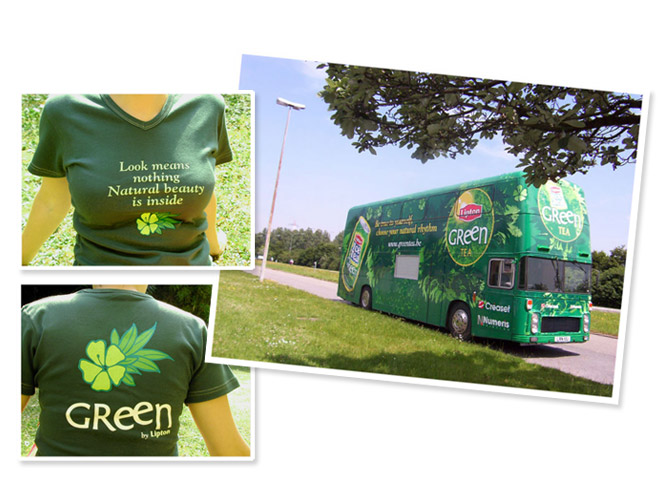 Bus et t-shirt Lipton Ice Tea Green