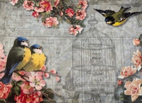#2091 Chickadee and Roses - Large