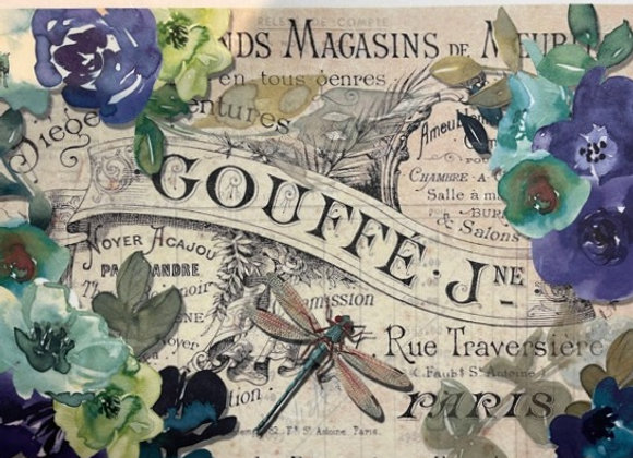 #2113 Dragon Fly and Flowers - Medium