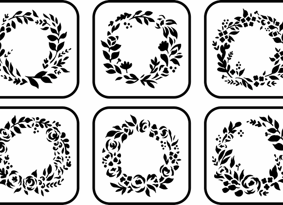 Jami Ray Stencils - Floral Wreath Mini 6 Pack