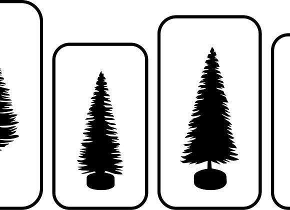 Bottle Brush Trees Set of 4