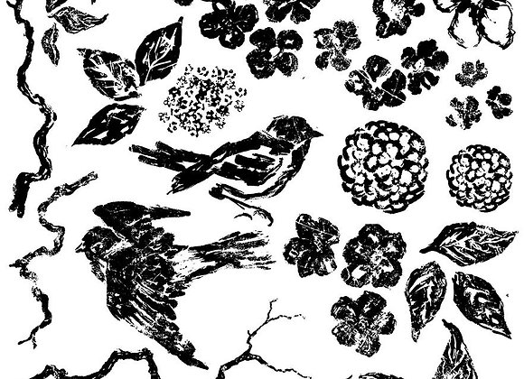 """IOD Decor Stamps - Birds Branches & Blossoms 12"""" x 12"""""""