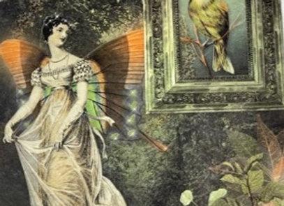 #2119 Vintage Lady Looking at Bird - Large
