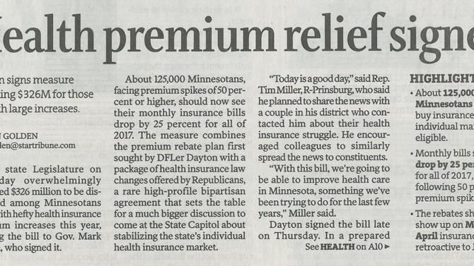 Governor Mark Dayton Signs Health Premium Reduction Bill