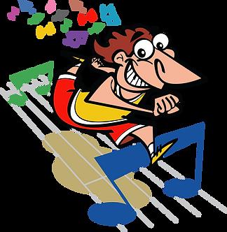 CORREDOR SALTANDO NOTA MUSICAL - Ilustrador: Grego