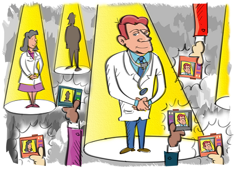 FAMOUS PHYSICIANS BEING PHOTOGRAPHS - Illustrator: Grego