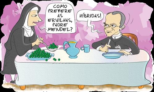 MENDEL SCIENTIST AND HYBRID PEAS - Illustrator: Grego