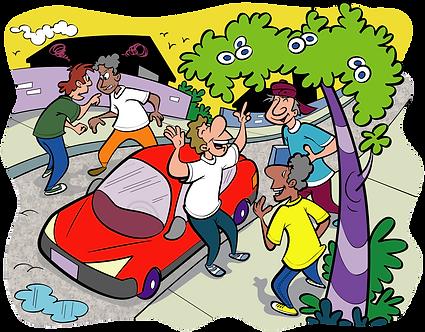 COLLEAGUES CONVERSING NEXT CAR - Illustrator: Grego