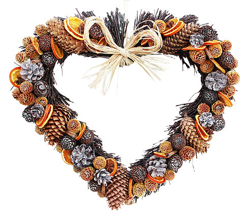 Cone and Orange Twig Heart (3 sizes available)