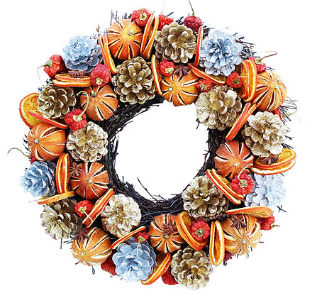 Gold And Silver Cone Fruit Wreath