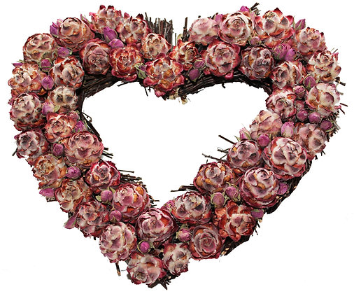 Winter Rose Wreath:Heart Shaped