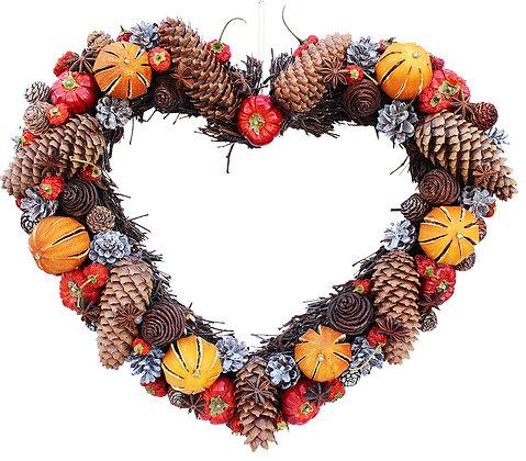 Winter Cone Heart Wreath