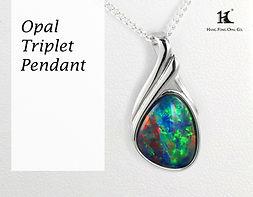 Opal Triplet Pendant, Opal Pendants, Opal Jewellery, Opal jewelry, Australian Opal,HFO,蛋白石, 澳寶, 歐泊, 吊墜, 恆豐, Silver, 14K gold, free-form pendant, Hang Fong Opal