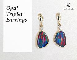 Opal triplet earrings, Opal jewellery, Australian Opal, Opal triplet earrings, 恆豐, HFO, 蛋白石, 澳寶, 歐泊, 耳環, silver earrings, 14K earrings, Hang Fong Opal, opals and diamonds