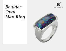 Boulder Opal ring, Opal rings, Queensland opal, Australian Opal ring, Boulder Opal, 恆豐, HFO, 蛋白石, 澳寶, 歐泊, 戒指, silver ring, 14K gold rings