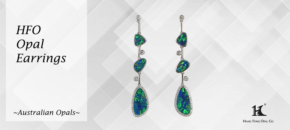 Opal Jewellery, Opal earrings, Opal jewelry, Australian Opal, Opal Doublet Earrings, 恆豐, HFO, 蛋白石, 澳寶, 歐泊, 耳環, 14K gold, gold Earrings, Opals and diamonds