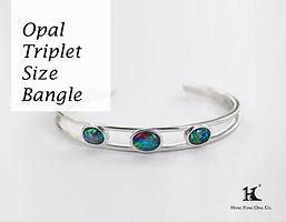 Opal Triplet Size Bangle, Opal Jewellery, Opal Bangle, Opal, Australian Opal, Opal Triplet, 恆豐, HFO, 蛋白石, 澳寶, 歐泊, 手鏈, 14K gold, silver bangle