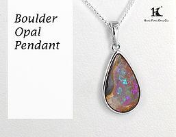 Boulder Opal Pendant, Opal Jewellery, Opal jewelry, Australian Opal, HFO, 蛋白石, 澳寶, 歐泊, 吊墜,恆豐, Boulder Opal, Queensland, silver, 14K gold