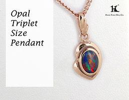 Opal Triplet Pendant, Opal Pendants, Opal Jewellery, Opal jewelry, Australian Opal, HFO, 蛋白石, 澳寶, 歐泊, 吊墜, 恆豐,silver, 14K gold, rose-gold