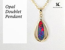 Opal Doublet Penant, Opal Pendants, Opal Jewellery, Opal jewelry, Australian Opal,HFO, 蛋白石, 澳寶, 歐泊, 吊墜, 恆豐, Silver pendant, 14K gold pendant, Hang Fong Opal Pendant