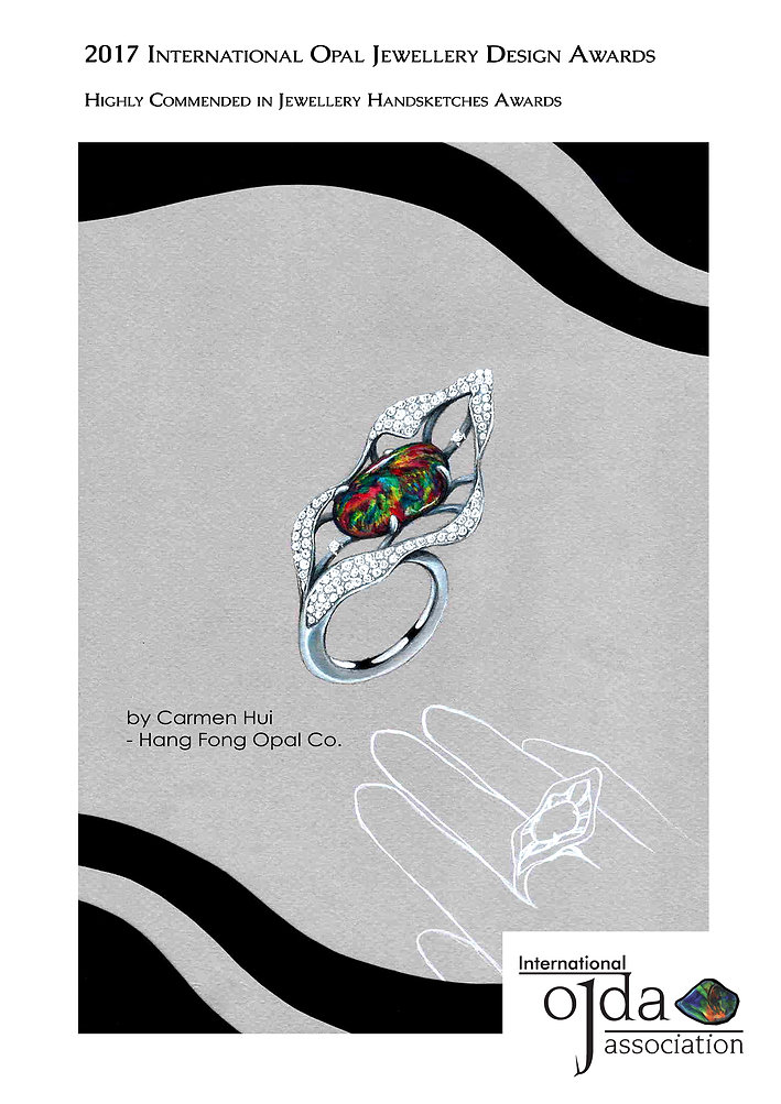 Jewellery Competition awards, Opal Jewellery, Fashion, Design Awards, Jewellery design, Awards, Carmen Hui, designer, innovative, Australian Opal, ring, jewellery handsketch, 2017 International Opal Jewellery Design Awards, Hang Fong Opal, OJDA, winner, highly commended