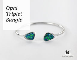 Opal Triplet Bangle, Opal Jewellery, Opal Bangle, Opal, Australian Opal, Opal Triplet, 恆豐, HFO, 蛋白石, 澳寶, 歐泊, 手鏈, 14K gold, silver bangle