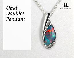 Opal Doublet Pendant, Opal Pendants, Opal Jewellery, Opal jewelry, Australian Opal, HFO, 蛋白石, 澳寶, 歐泊, 吊墜, 恆豐, Silver, 14K gold pendant, Hang Fong Opal