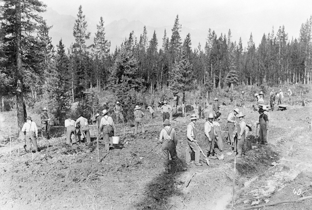 Prisoners working outside of Castle Mountain camp.