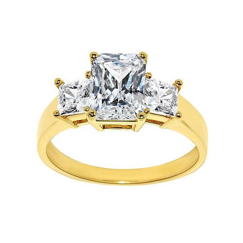 14k Yellow Gold 2ct TGW Emerald-cut Diamonette Engagement Ring