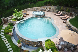 Vanishing edge pool with raised spa
