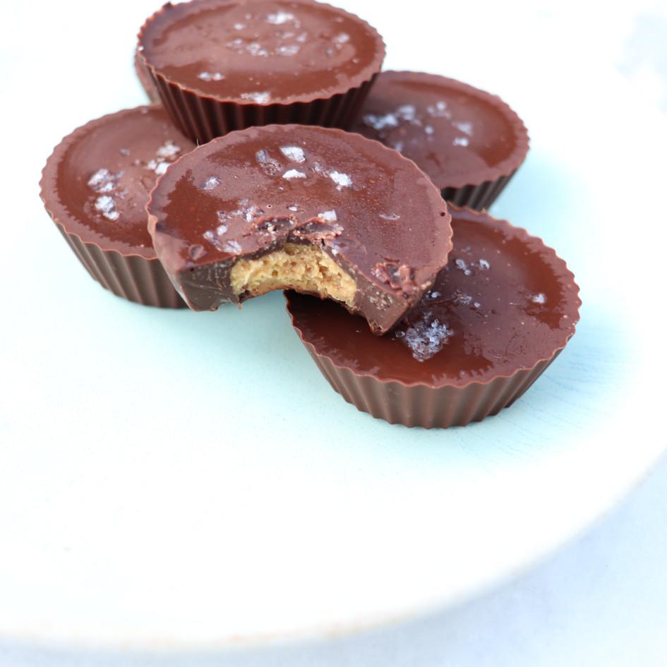 Salted Dark Chocolate Almond Peanut Butter Cups