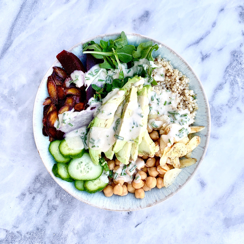 The Uncomplicated Buddah Bowl with Tahini Chive Dressing