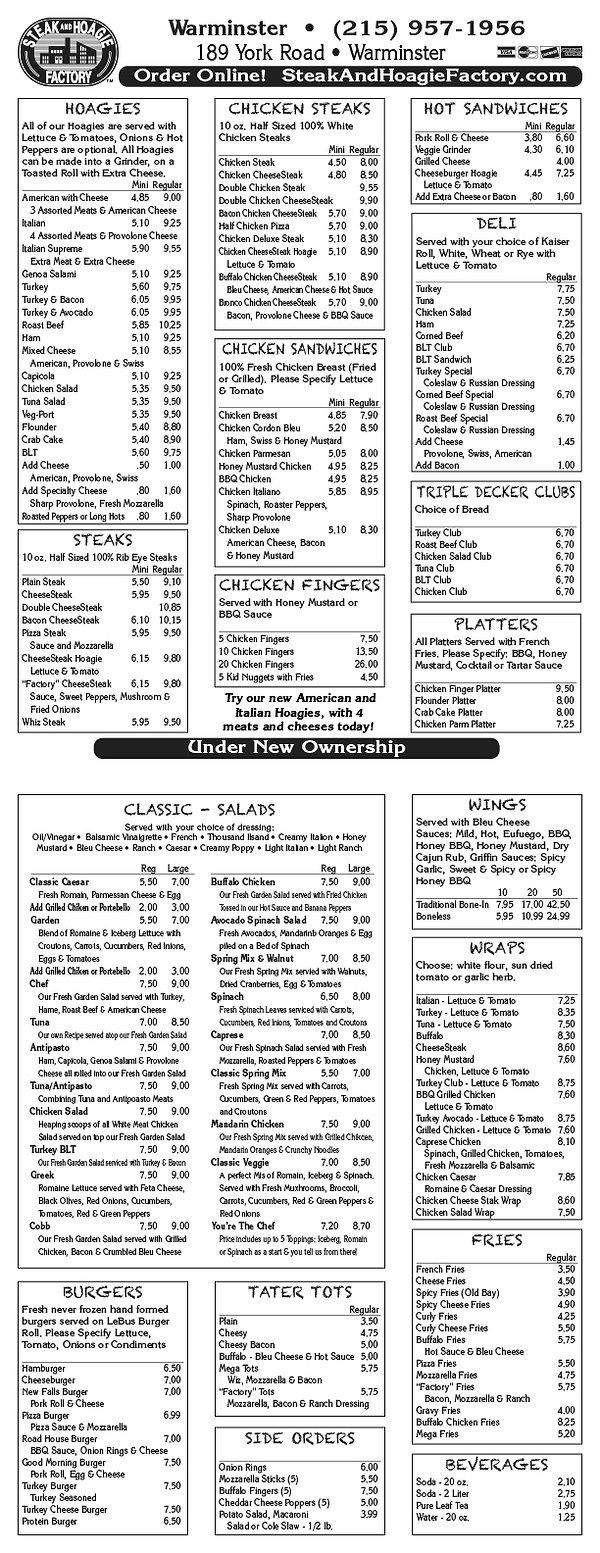 Menus Warminster