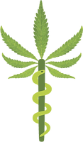 A cannabis leaf with a snake climbing up the stem.