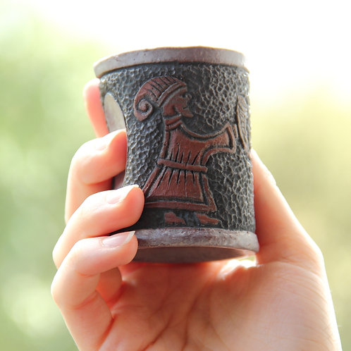 Custom made Ceramic Viking Shot Glass with carved pictures from Viking age.