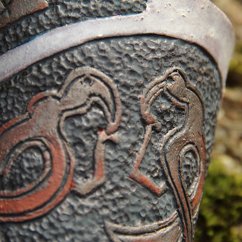 Ceramic Viking Beer Mug with carved Pictures from the Old Norse Mythology.