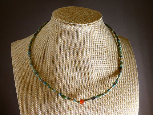 ROMANO-EGYPTAIN TURQUOISE BEAD SILVER NECKLACE
