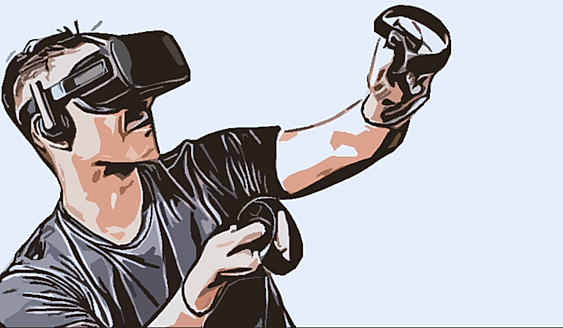 A amn plays in a virtual reality.