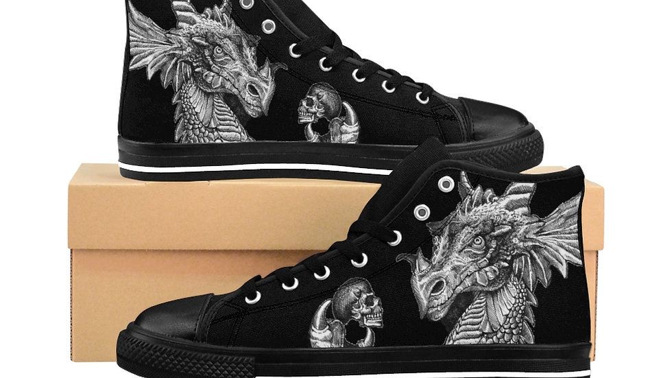 "Jay Tausig ""Dragon Holding Skull"" Men's High-top Sneakers"