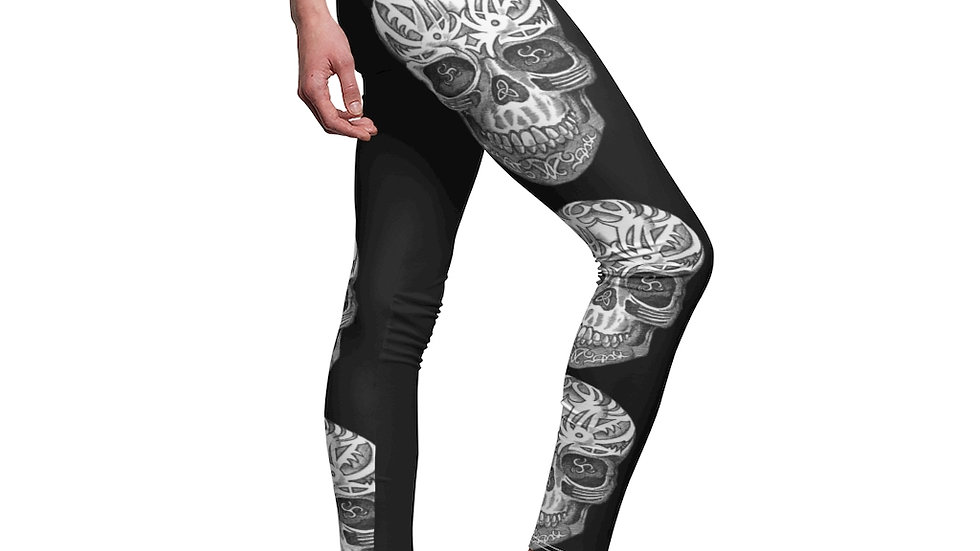 "Jay Tausig ""Celtic Skull"" Women's Cut & Sew Casual Leggings"